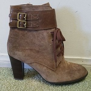Franco Sarto Suede stacked heel ankle boots sz 8.5